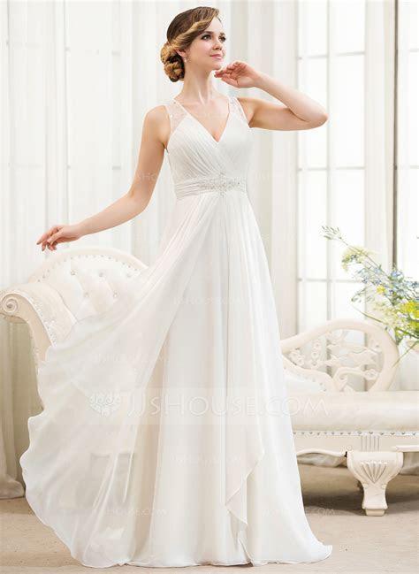 A Line/Princess V neck Sweep Train Chiffon Wedding Dress