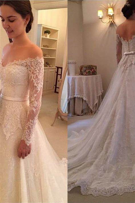 Long Sleeves Off The Shoulder New Arrival Bridal Gowns