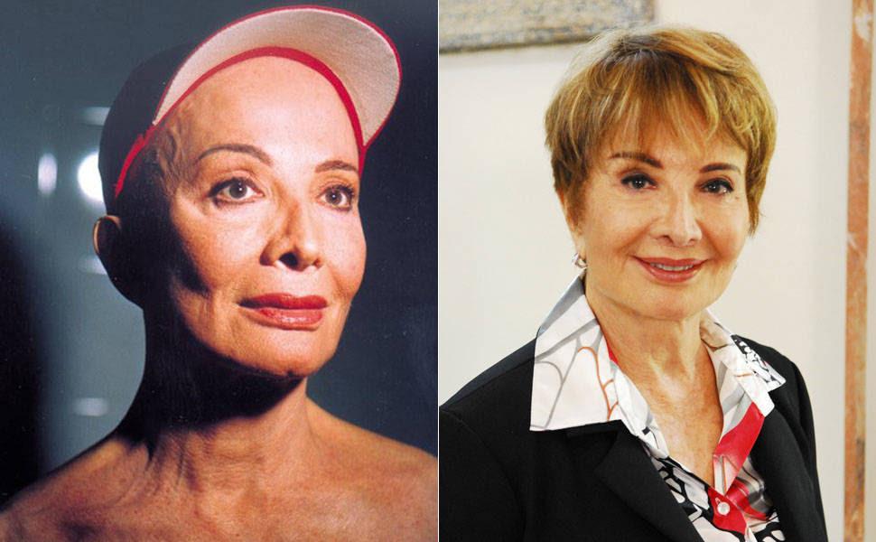 """Glória Menezes na peça """"Jornada de um Poema"""" para qual ela raspou a cabeça; e em foto deste ano"""