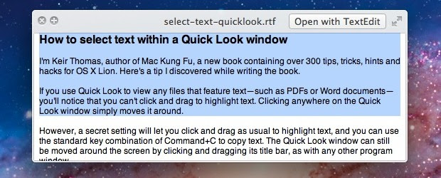 Select Text in Quick Look Windows for Mac OS X