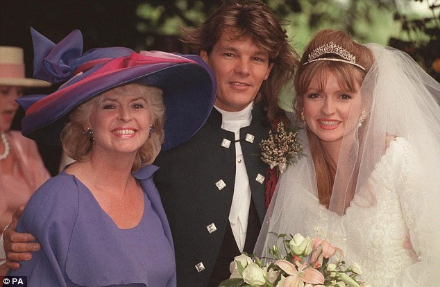Beautiful bride: Caron (right) married Russ Lindsay (centre), both pictured with Gloria, in 1991