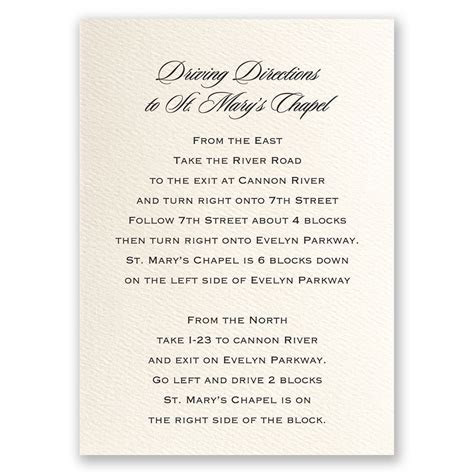 Ecru Direction Card Vertical   Invitations By Dawn