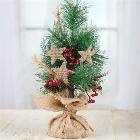 Rustic Artificial Pine and Burlap Star Tree   Trees and