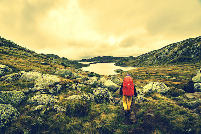 Image of a person hiking in Norway