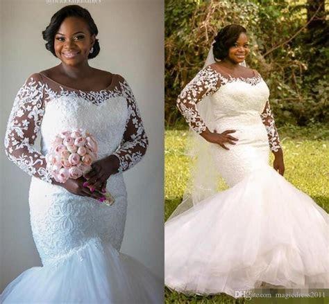 2017 Plus Size Mermaid Wedding Dresses With Illusion Long