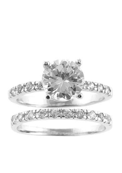 Belk Silverworks Cubic Zirconia Wedding Band Ring Set   Belk