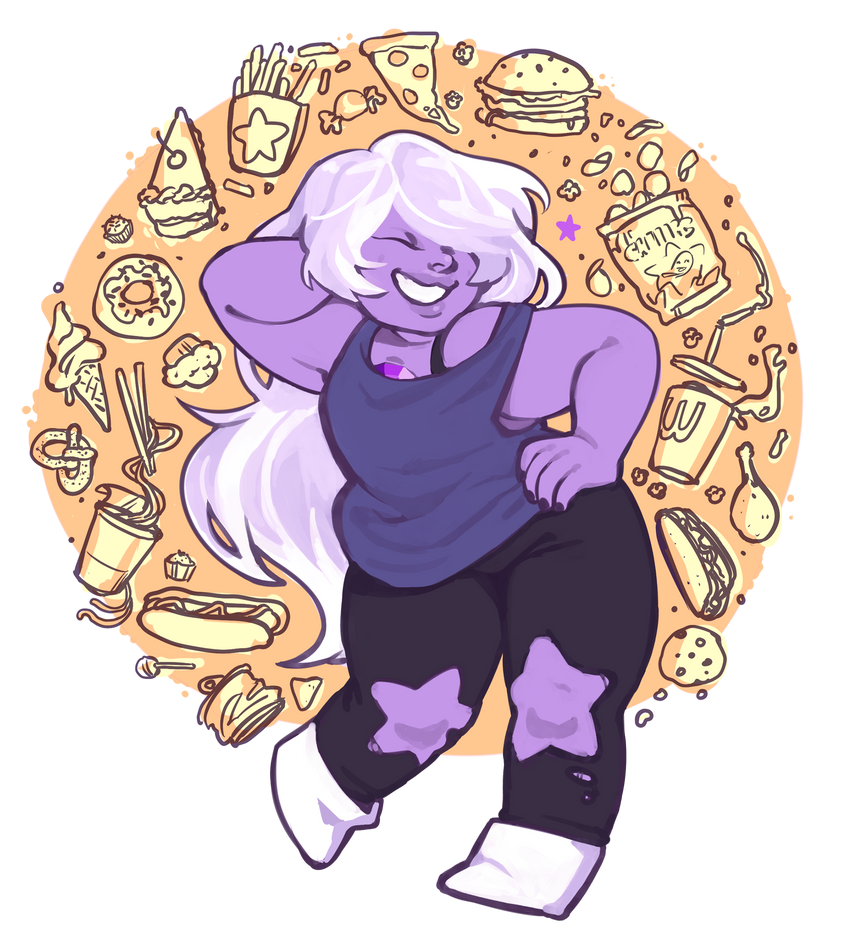 amethyst is my fav gem forever. protect amethyst at all costs i got rly upset bc i keep seeing art of her skinny so?? here she is (my intention was not to equate fat with unhealthiness btw, i just ...
