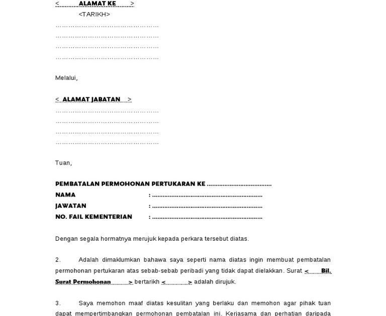 Contoh Surat Permohonan Pertukaran Nama Lesen Kuora F