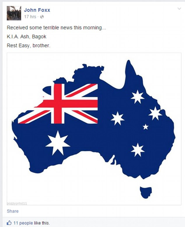 John Foxx, an American claiming to be one of the Australian's colleagues, also posted a tribute on Facebook