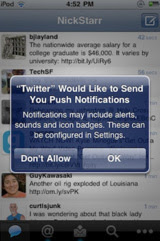 Twitter Adding Push Notifications to its iPhone App