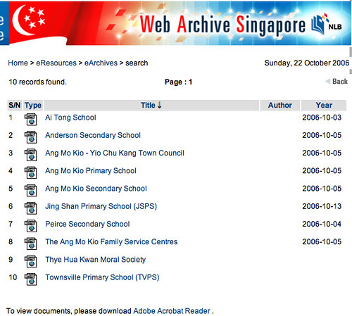 NLB web archive - Search results
