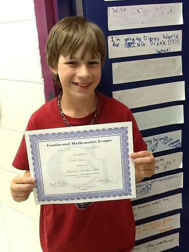 Caleb's math award
