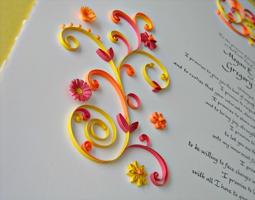 Quilled marriage certificate by Ann Martin