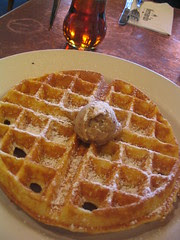 cornmeal waffle with pecan butter