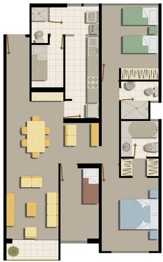 Departamento amplio de 105m2 planos de casas gratis y for Departamentos en planos