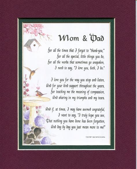 """""""Mom and Dad"""" #135, Touching 8x10 Poem, Double matted in"""