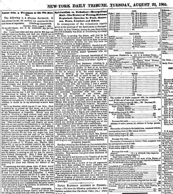 Newspaper print of Jordan Anderson's letter
