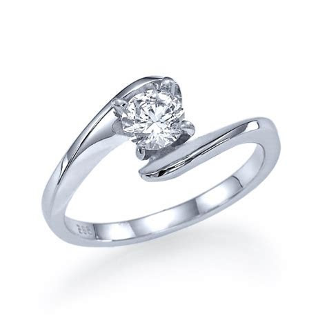 Half Carat Twist Engagement Ring in 14k White Gold