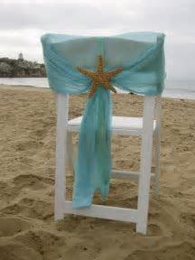 Beach Wedding   Aqua Chiffon Chair Caps with Starfish or