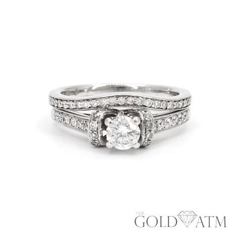 14K White Gold Diamond Engagement Ring Set   The Gold ATM