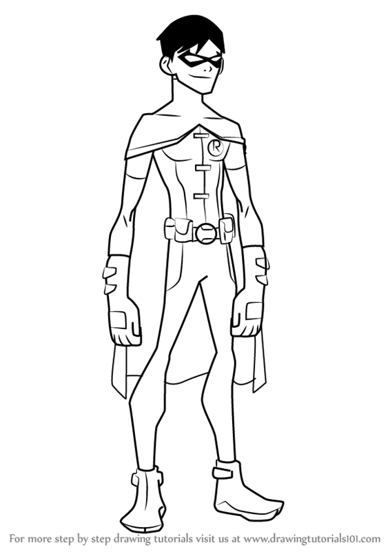 how to draw Robin from Young Justice step 0