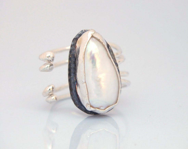 Freeform Pearl Ring - Sterling Silver Ring - Modern - Abstract - Adjustable - Ready to Ship - serpilguneysudesigns