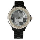 fun black and white patchchwork fabric design watches