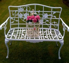 Decorative Bird Cage with Crocheted Carnations, Roses and Leaves.