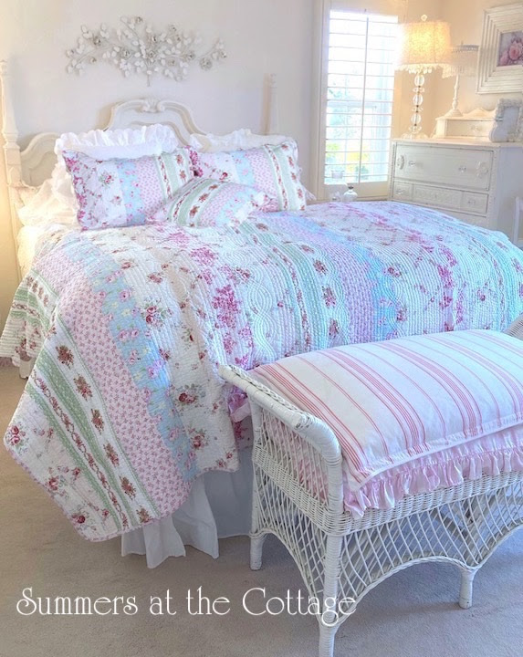 Shabby Cottage Chic Bedding Twin Quilts Comforter Rag Quilt ...