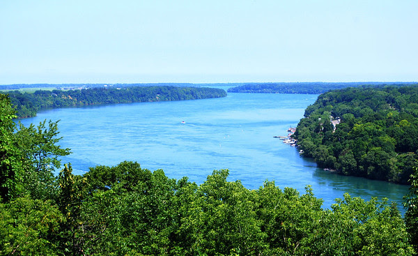 View down the Niagara River to Lake Ontario