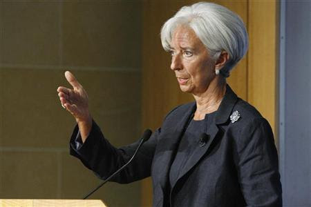 International Monetary Fund Managing Director Christine Lagarde gestures during her remarks on the state of the world economy at the Peterson Institute for International Economics in Washington, September 24, 2012. REUTERS/Jonathan Ernst