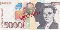 Bankovec za 5000 sit (2002) - sprednja stran