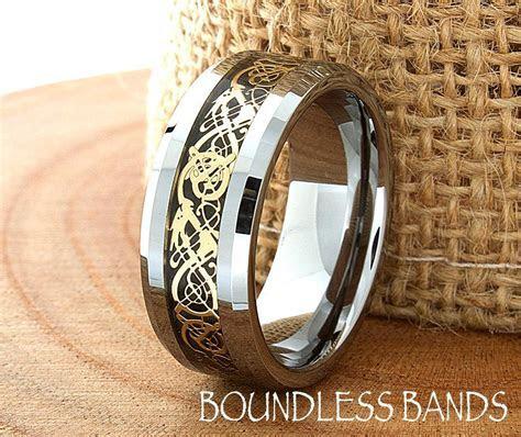 Celtic Dragon Wedding Band Flat High Polished Customized