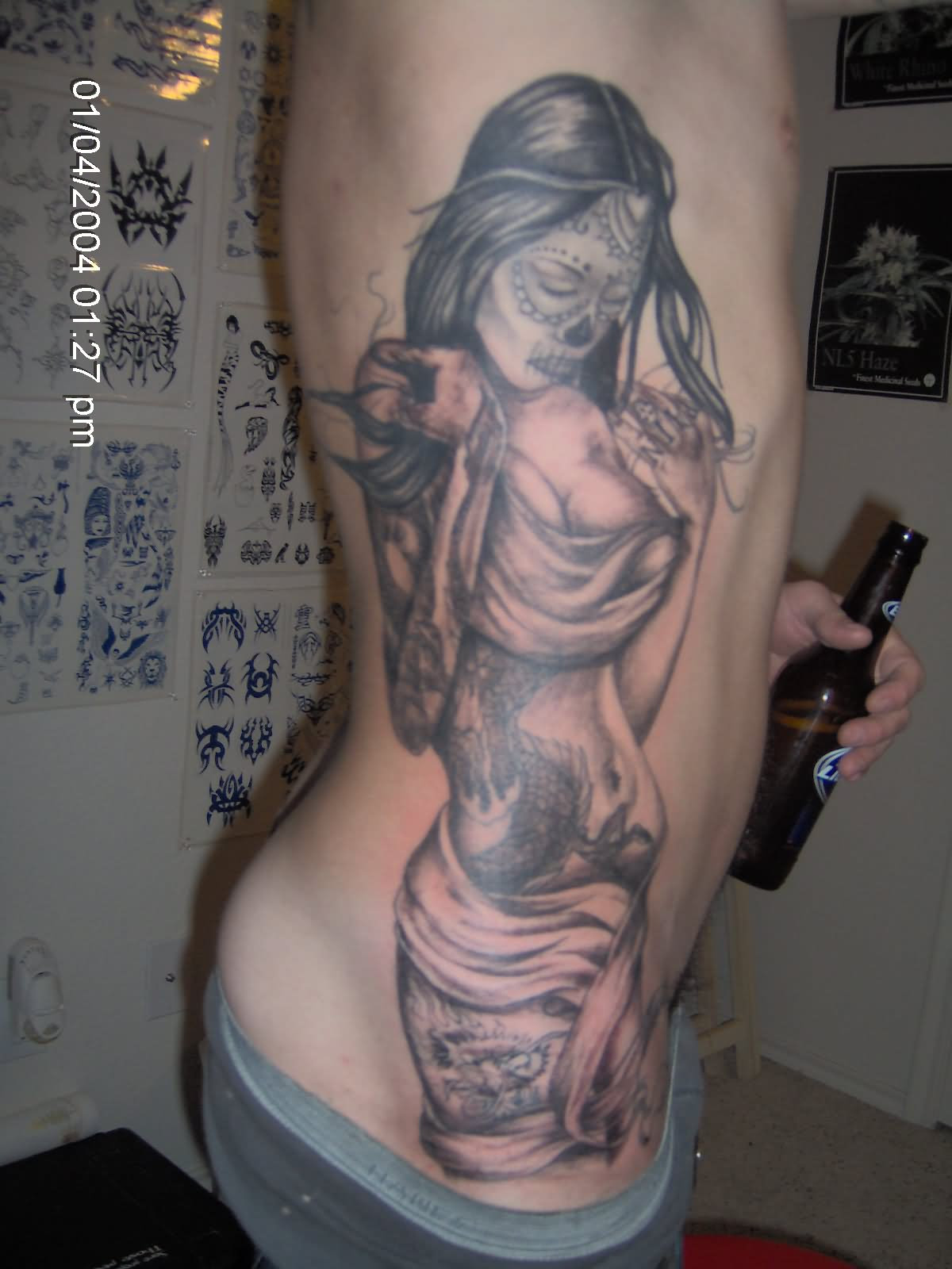 Day Of The Dead Girl Tattoo On Rib Cage For Men
