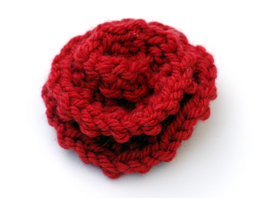 Red knitted rose