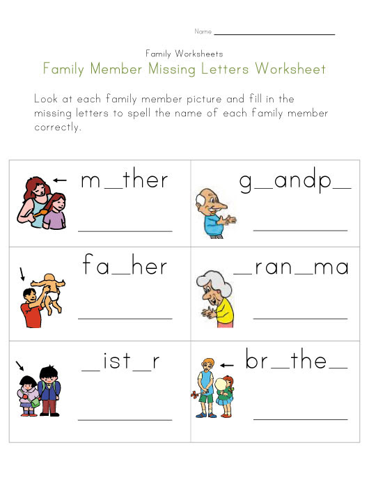 Letters Family family Your Print pdf worksheets Worksheet and View Missing