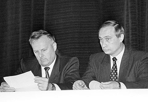 St. Petersburg Governor Anatoly Sobchak and Vladimir Putin in 1993. Photo: Alexander Belenky / The St. Petersburg Times