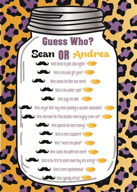 "Bridal Shower Game ""Guess Who?"" With leopard background"