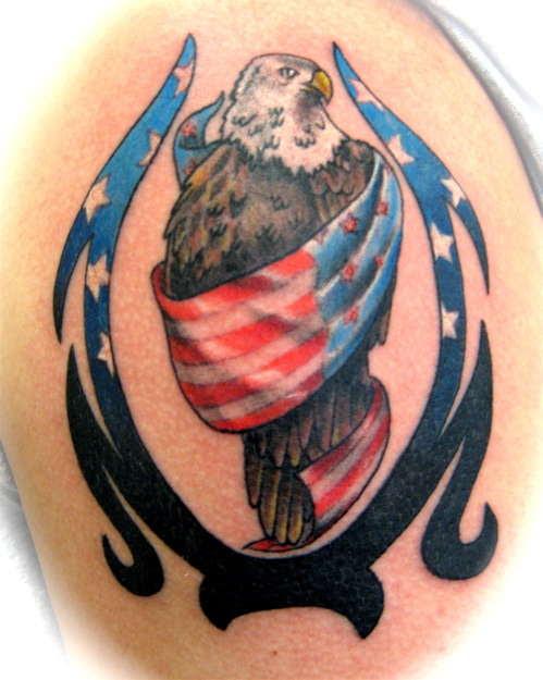3d American Flag And Eagle Tattoo Design Tattoomagz