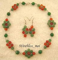 Wire Wrapped Flower Necklace and Earring Set