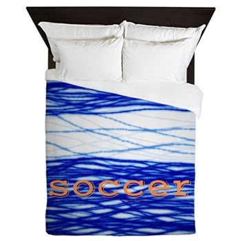 Sports Blue Soccer Queen Duvet