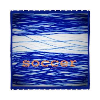 Sports Blue Soccer Queen Duvet