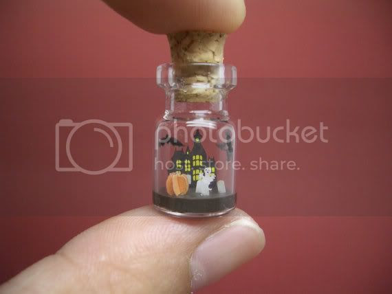 tiny halloween scene necklace