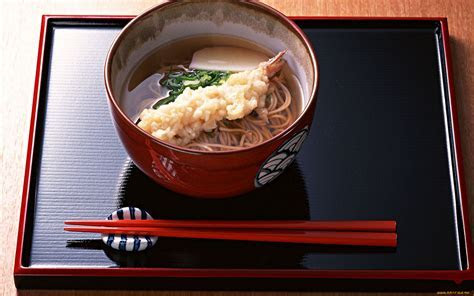 Tempura and soba noodles Full HD Wallpaper and Background