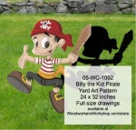 Billy the Kid Pirate Yard Art Woodworking Pattern - fee plans from WoodworkersWorkshop® Online Store - kids,pirates,childrens,play,buckaneers,yard art,painting wood crafts,jigsawing patterns,drawings,plywood,plywoodworking plans,woodworkers projects,workshop blueprints