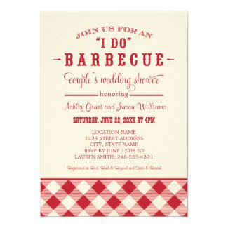 "Couple's Wedding Shower Invitation | ""I Do"" BBQ 5"" X 7"" Invitation Card"