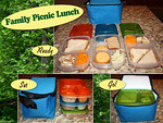 Lots of food fits in one cooler bag! (Up to three EasyLunchbox containers). Perfect for outings to the park, beach, or zoo! Thanks to Cassandra of The Aubut Family Blog for these great photos! http://bit.ly/a47KqR