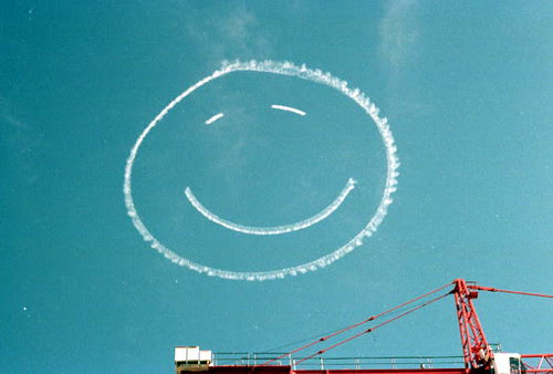 Smiley face written in the sky during the inauguration of Governor Bob Martinez