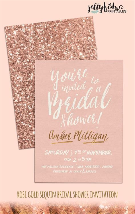 Rose Gold Bridal Shower Invitation   Customized for You