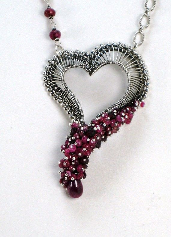 Heart Necklace wire wrapped Ruby Pink Tourmaline by HollyPresley